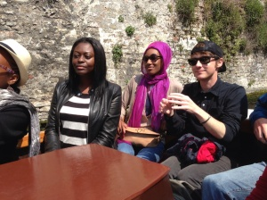 My stylish cohort in Brugge. Cruising the river.